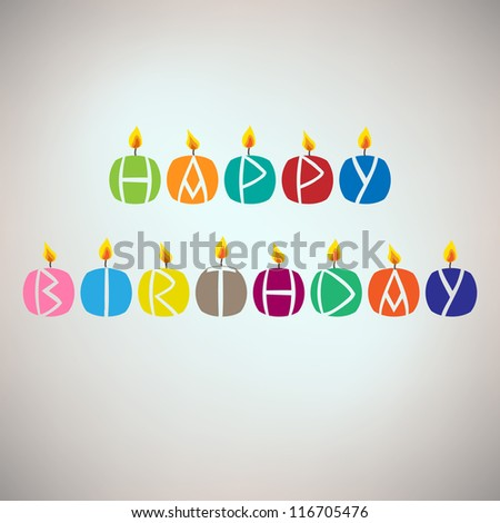 Happy birthday card with candles - stock vector