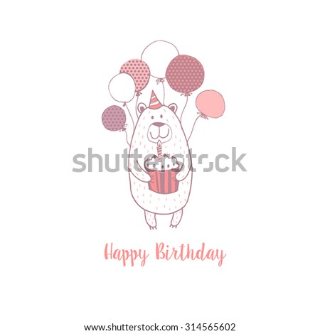 Happy Birthday card with cute bear. Kids background. - stock vector