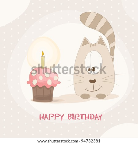 happy birthday card with cute cat - stock vector