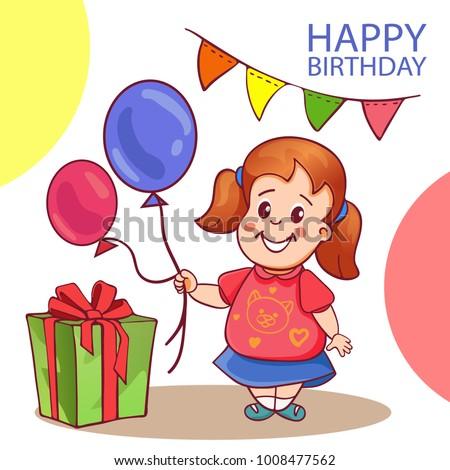 Happy Birthday Card Cute Little Girl Stock Vector 2018 1008477562