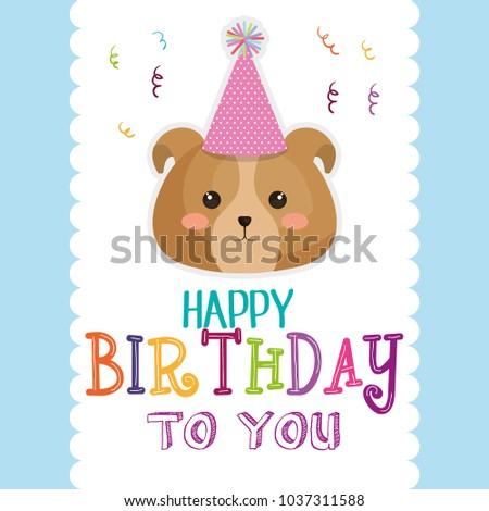 Happy Birthday Card Dog Stock Vector 1037311588 Shutterstock