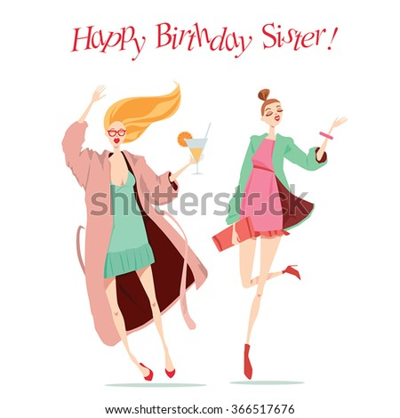 Happy Birthday card with fashionable girls - stock vector