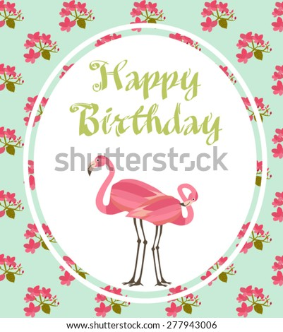 Happy Birthday Card Flamingo Vector 277942985 Shutterstock – Birthday Card with Picture