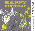 happy birthday card with flower and peacock - stock