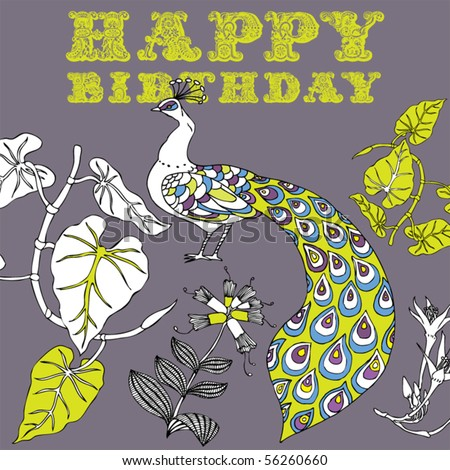 happy birthday card with flower and peacock - stock vector