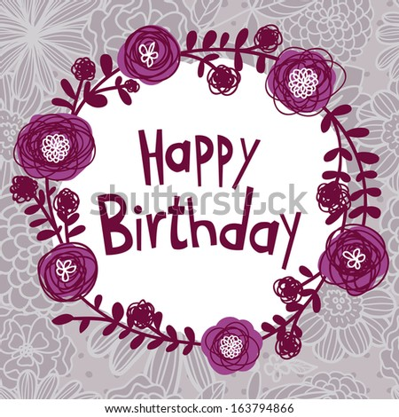 Happy Birthday card with flowers and seamless pattern background - stock vector