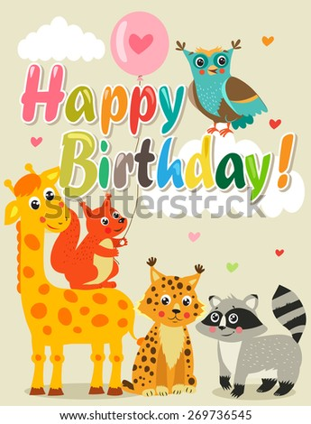 Happy Birthday Card With Funny Animals Vector Illustration Images