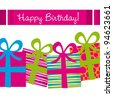 happy birthday card with gifts and stripes. vector illustration - stock vector