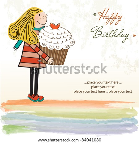 Happy Birthday card with girl and cupcake