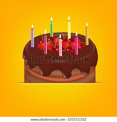 Happy Birthday Card With Gradient Mesh, Vector Illustration - stock vector