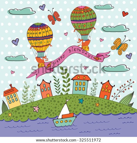 Happy birthday card with hot air balloons and houses. Illustration in vector format - stock vector