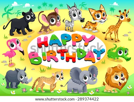 Happy Birthday card with Jungle animals. Cartoon vector illustration with frame in A4 proportions. - stock vector