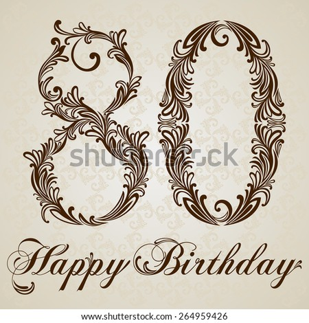 Happy birthday card with number  Eighty. Vector Design Background. Swirl Style Illustration. - stock vector