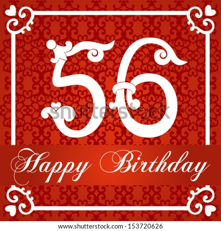 Stock Vector Happy Birthday Card With Number Fifty Six Illustration Jpg 450x470 56