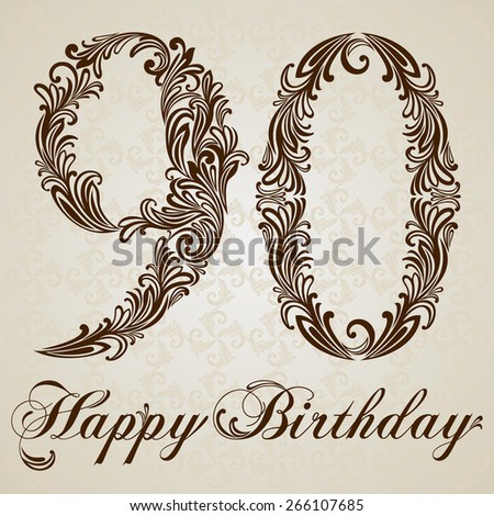 Happy birthday card number ninety vector stock vector 266107685 happy birthday card with number ninety vector design background swirl style illustration bookmarktalkfo Image collections