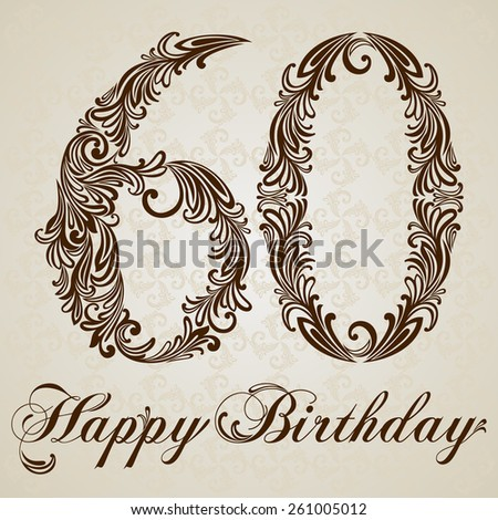 Happy birthday card with number sixty. Vector Design Background. Swirl Style Illustration. - stock vector