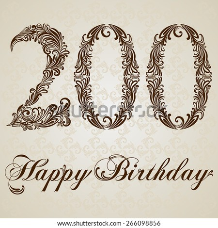 Happy birthday card with number 200 . Vector Anniversary Celebration Design Background. Swirl Style Illustration. - stock vector