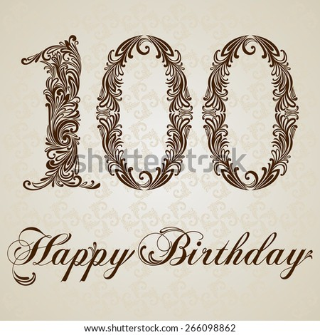 Happy birthday card with number 100. Vector Anniversary Celebration Design Background. Swirl Style Illustration. - stock vector