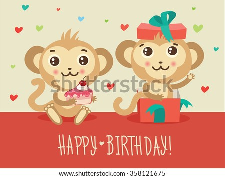 Happy birthday card two funny monkey stock vector 358121675 happy birthday card with two funny monkey cake and gift box cute cartoon animal vector bookmarktalkfo Gallery