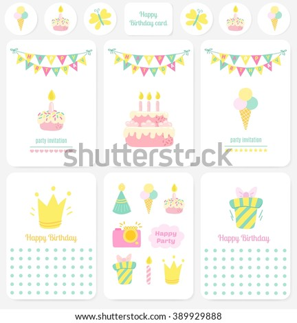 Happy Birthday Cards Notes Stickers Tags Stock Vector 389929888