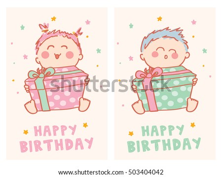 Birthday Cards Cartoon ~ Happy birthday cards cute baby stock vector 503404042 shutterstock
