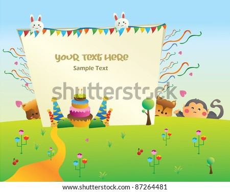 happy birthday cartoon party card you can put your text on the banner