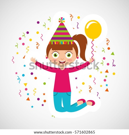 Happy Birthday Celebration Card Kid Vector Vector 571602865 – Birthday Card for Kid