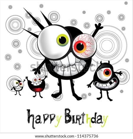 Happy Birthday cheerful monster - stock vector