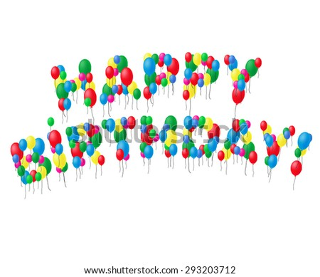 Happy Birthday color vector balloons card, white background - stock vector