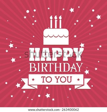 Happy birthday colorful card design, vector illustration. - stock vector