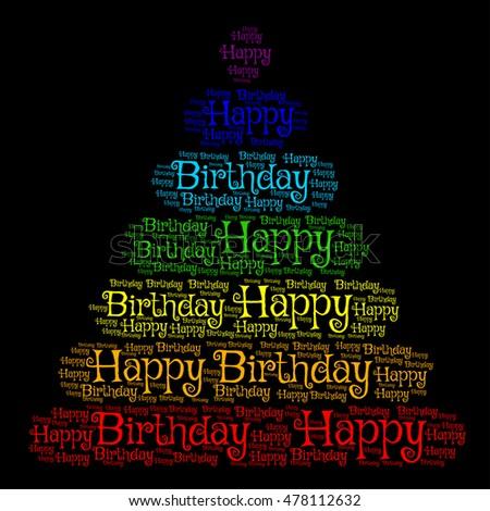 Happy Birthday Creative Word Pyramid On Black Background Vector Illustration