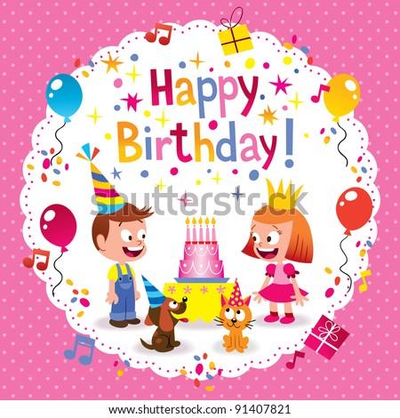 Happy Birthday cute kids card - stock vector