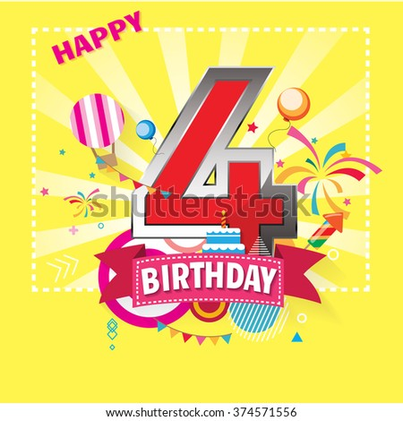 Happy Birthday 4 date , fun celebration greeting card with number, text label and colorful geometry design. EPS10 vector.
