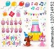 Happy Birthday design elements set - stock vector