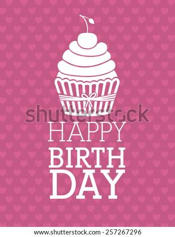 happy birthday design over white background, vector illustration. - stock vector