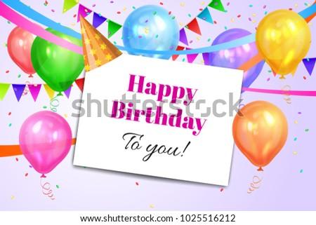 Happy Birthday Design Realistic Colorful Helium Stock Vector ...