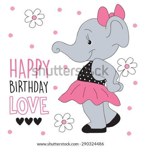 happy birthday elephant vector illustration - stock vector