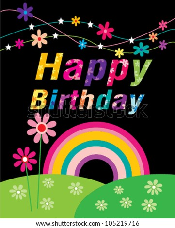 Happy Birthday Flowers Text  Party - stock vector