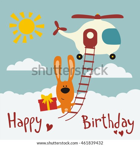 Happy birthday funny bunny flying on stock vector 461839432 happy birthday funny bunny flying on helicopter with birthday gift in hand negle Image collections