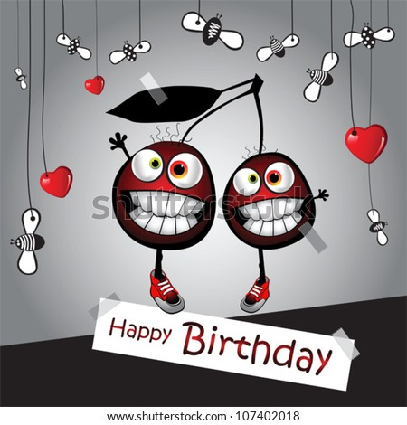 Happy Birthday Funny Card Cherry Stock Vector 107402018 Shutterstock