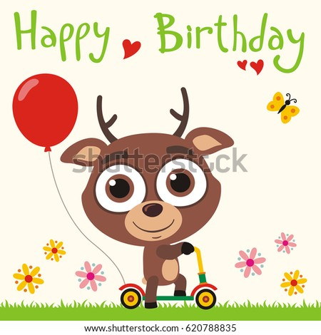 Happy birthday funny deer going on stock photo photo vector happy birthday funny deer going on scooter with red balloon greeting card bookmarktalkfo Image collections