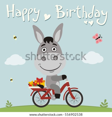 Happy birthday funny donkey on bike 556902538 happy birthday funny donkey on bike with gifts in cartoon style voltagebd Images