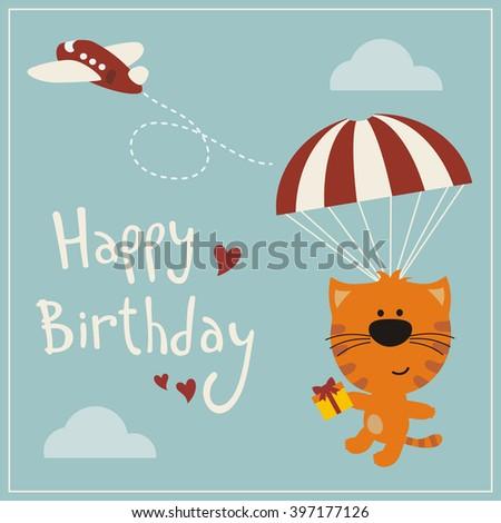 Happy birthday! Funny kitten flying on parachute with birthday gift in hand. Happy birthday card. Cartoon kitten wishes happy birthday. Vector illustration - happy birthday card with kitten. - stock vector