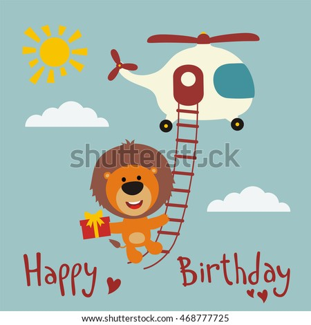 Happy Birthday Funny Lion Flying On Stock Vector 468777725