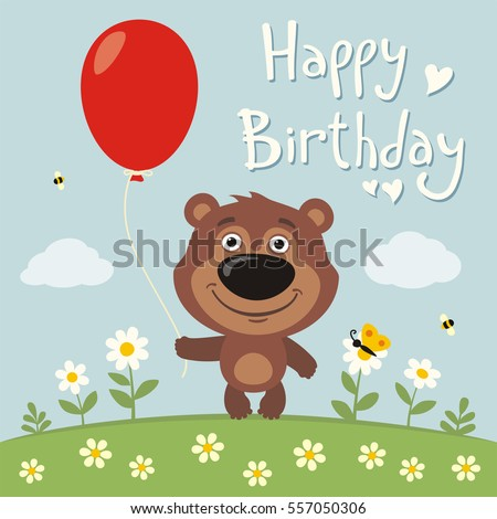 Happy birthday! Funny teddy bear with red balloon on flower meadow. Birthday card with teddy bear in cartoon style.