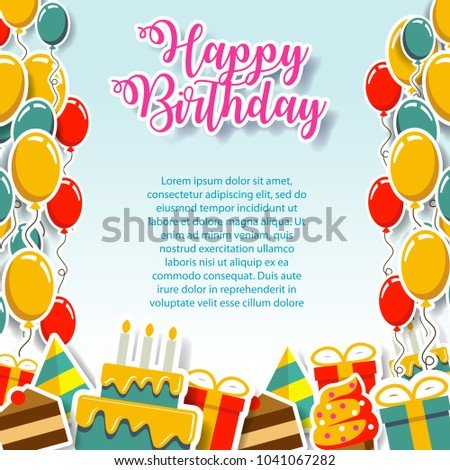Happy birthday gift card invitation design stock vector 1041067282 happy birthday gift card and invitation design template fun cute paper art design pop yelopaper Gallery