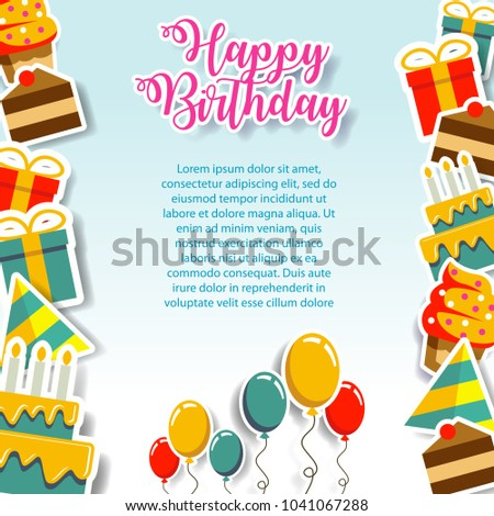 Happy birthday gift card invitation design stock vector 1041067288 happy birthday gift card and invitation design template fun cute paper art design pop bookmarktalkfo Images