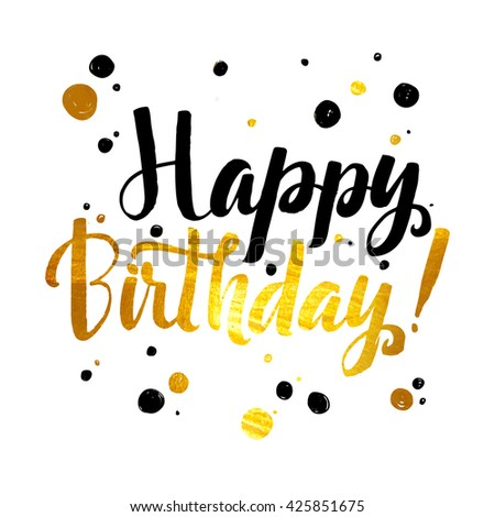 Happy Birthday Gold Foil Calligraphic Message Stock Vector HD ...