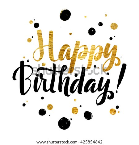 Happy Birthday Gold Foil Calligraphic Message Stock Vector ...