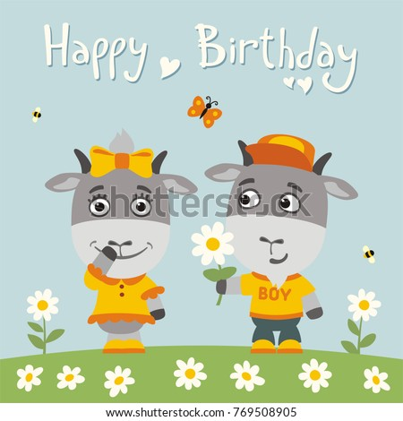 Happy birthday greeting card funny goat stock vector 769508905 happy birthday greeting card funny goat boy gives flower to goat girl for birthday bookmarktalkfo Image collections